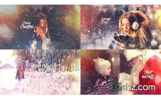 雪花飞舞在美好的圣诞节图文展示AE模板