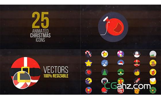 圣诞节主题矢量图标动画素材AE模板