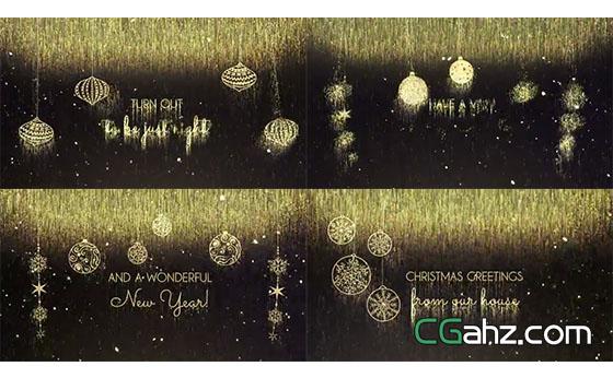 炫美金色粒子瀑布下的美好圣诞祝福字幕AE模板