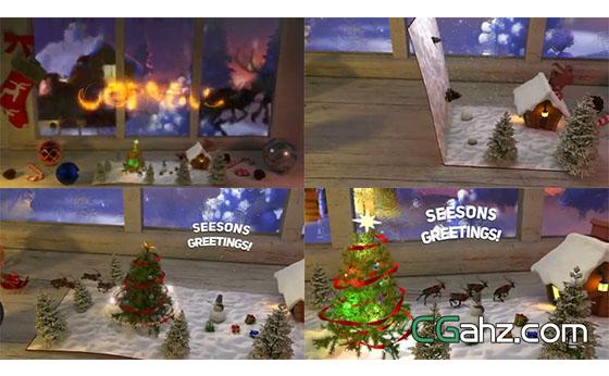 圣诞节卡片打开后神奇的一幕出现了AE模板