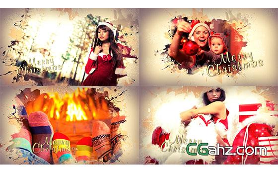 唯美的圣诞节家庭相册图片展示AE模板