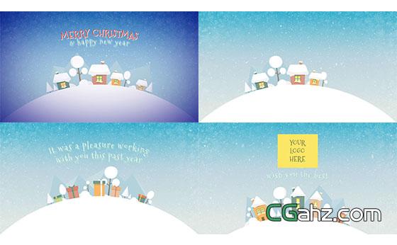 可爱圣诞节扁平化场景MG动画片头展示AE模板