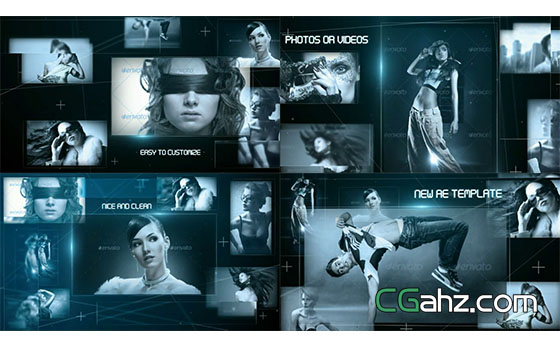 高科技图片阵列片头展示AE模板