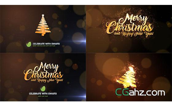 圣诞节粒子生成文字Logo动画展示AE模板