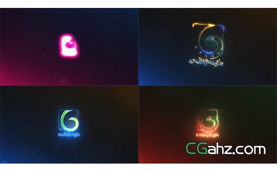 能量光纤描边Logo展示AE模板