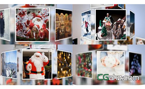 圣诞树相册图片展示AE模板