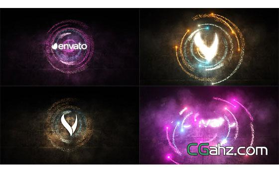 灯光粒子汇聚环绕Logo展示片头AE模板