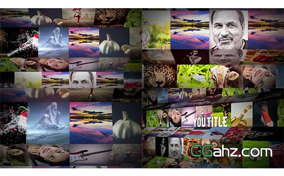 用40张照片组建的3D图库展示墙AE模板