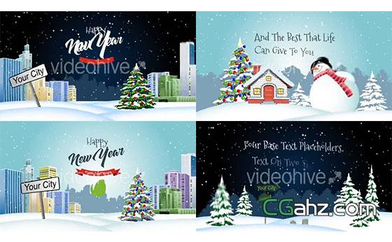 活泼的弹出式圣诞开场小动画AE模板