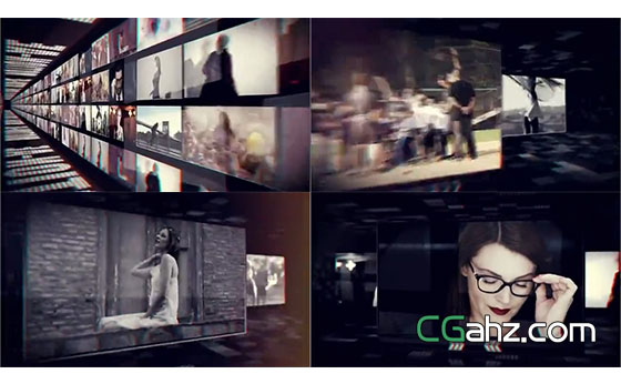 时尚、独特、现代的视频组合展示墙AE模板