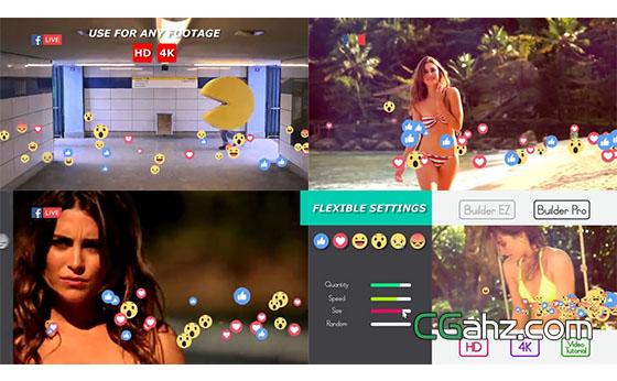 社交媒体或网络直播的实时表情弹幕创建器AE模板