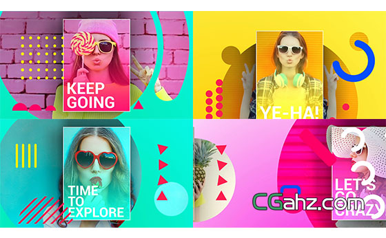 创意多彩时尚图形图片包装片头展示AE模板