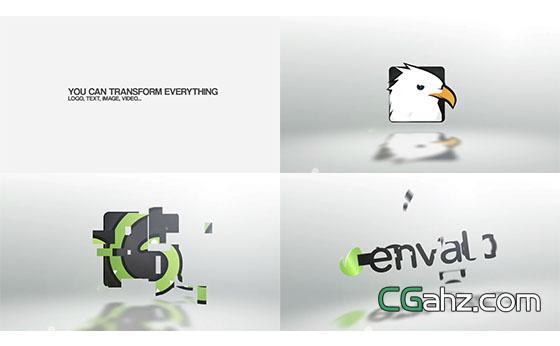折叠变形拼贴Logo展示动画AE模板