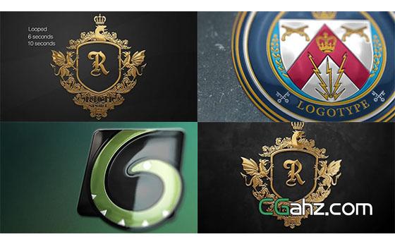 光泽质感三维卡片Logo动画片头展示AE模板