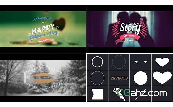 浪漫婚礼文字标题动画元素展示AE模板