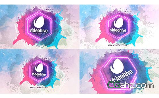 水彩泼撒Logo展示AE模板
