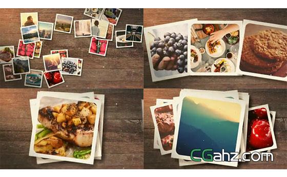 回忆色调却很活泼的照片堆积展示AE模板