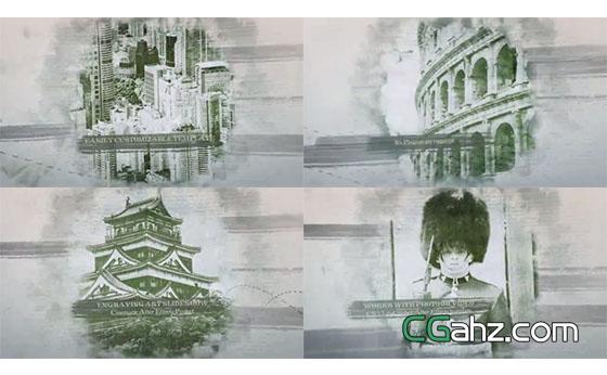 像艺术版画一样的怀旧风图片视差展示特效AE模板