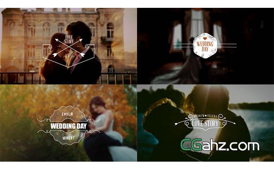 复古欧式婚礼文字标题动画展示AE模板