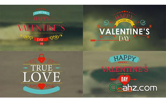 情人节文字标题条幅动画展示AE模板
