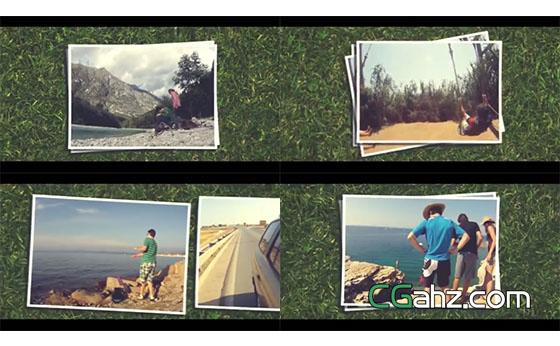 草地照片展示AE模板