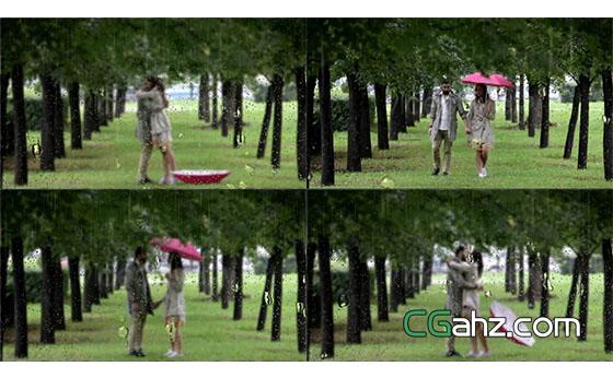 真实下雨场景视频合成AE模板