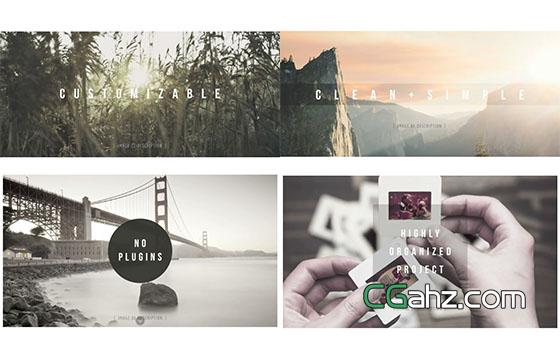 小清新幻灯片旅游图片展示AE模板