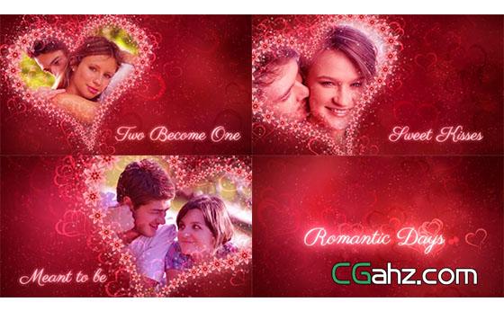 婚礼红心浪漫相册展示AE模板