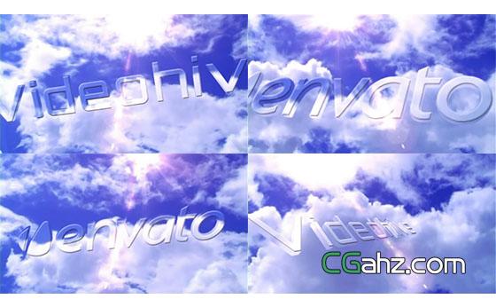 天空白云logo片头展示AE模板