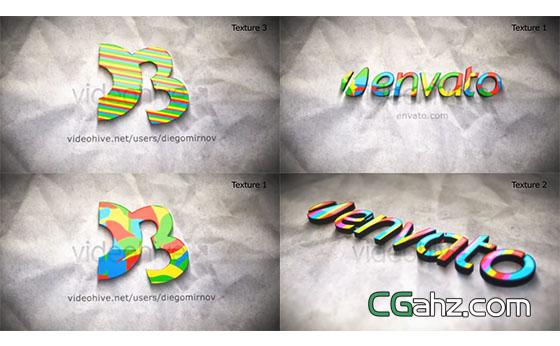 卡通彩色儿童三维文字Logo填充展示AE模板