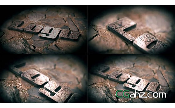 岩石上锈迹斑斑的3D标志演绎AE模板