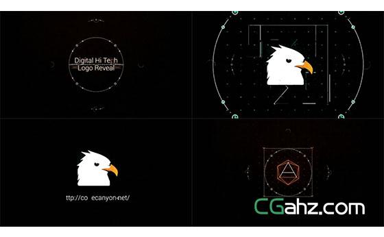 线条电路与数码高科技标志演绎动画AE模板