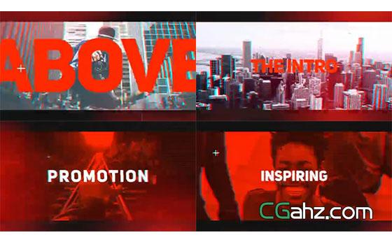 动感活力红色主题宣传开场AE模板