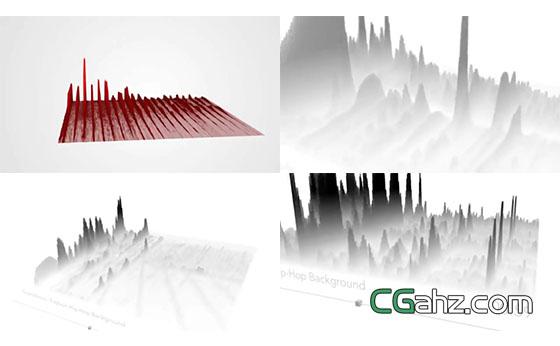 將音頻頻譜進行三維可視化制作的AE模板