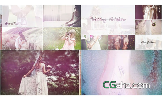 明亮优雅的婚礼照片组合展示AE模板