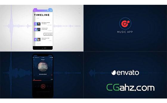 智能手机上的音乐APP应用宣传推广AE模板