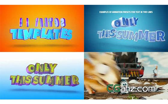 可用于动画电影预告片的卡通立体文字特效AE模板