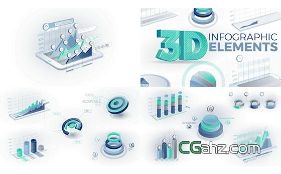 3D效果曲线饼状图柱状图业绩数字统