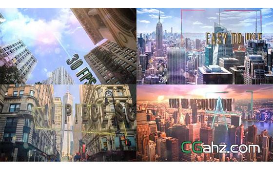 在城市高樓中穿梭的三維文字標題AE模板
