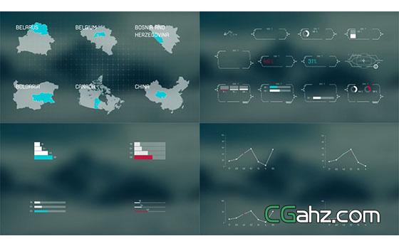 数据统计信息图与国家地图的素材包AE模板