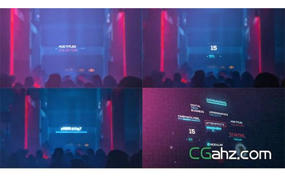 科技全息效果的闪烁文本标题动画AE模板