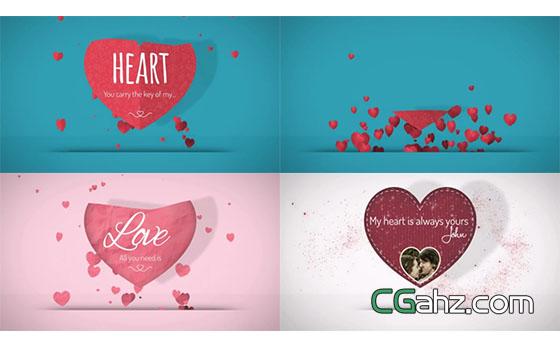 上升的爱心气泡和桃心展示开场小动画AE模板