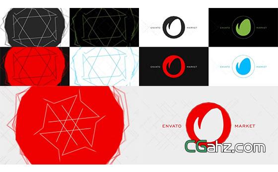 线条波动Logo动画展示AE模板
