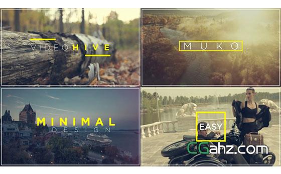 简洁的图形转场文字标题动画展示AE模板