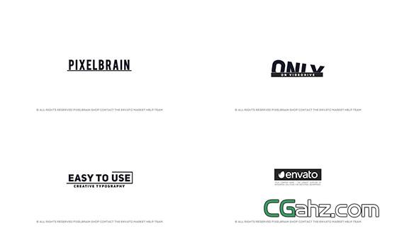简单黑白文字标题动画展示AE模板