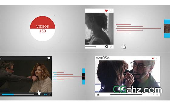 网络社交视频宣传片头展示AE模板