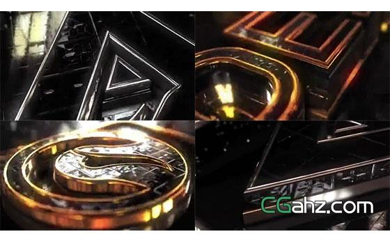 钻石与暗黑风金属标志演绎AE模板
