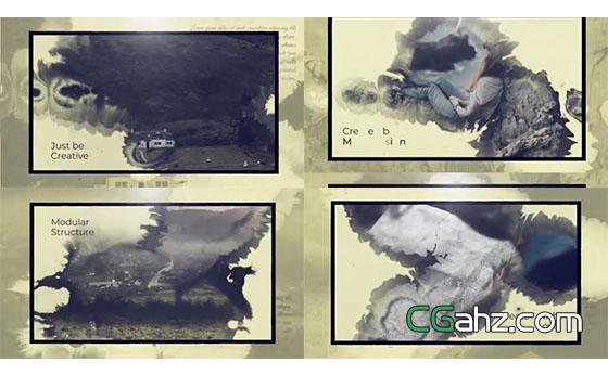 优雅水墨缓慢晕染着泛黄的记忆图文展示AE模板