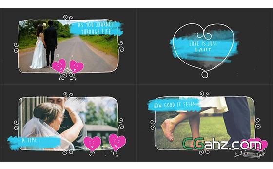 可爱卡通手绘元素与情人节爱心主题展示AE模板