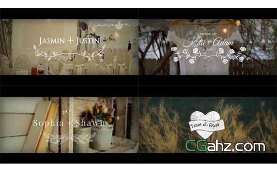 可用在婚礼微电影中的文字标签动画AE模板